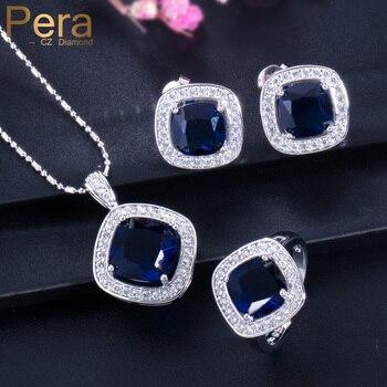 9da8ae108747 Pera CZ Royal elegante joyería de fiesta de mujer azul cristal austriaco 925  piezas plata de ley de moda 3 piezas conjuntos para el regalo del Día de  las ...