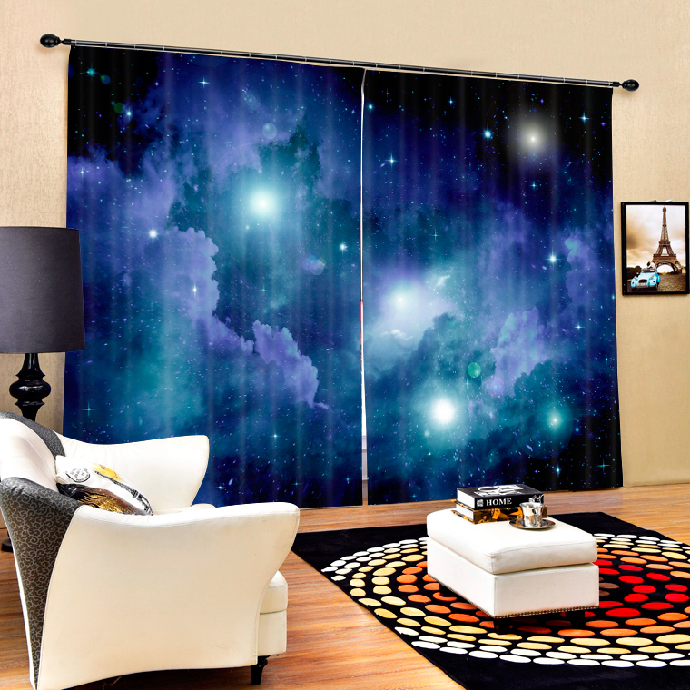 Bule Star Space Galaxy 3D Window Blackout Curtains For Living room <font><b>Kids</b></font> Boys Bedding room Drapes Cotinas para sala decorative