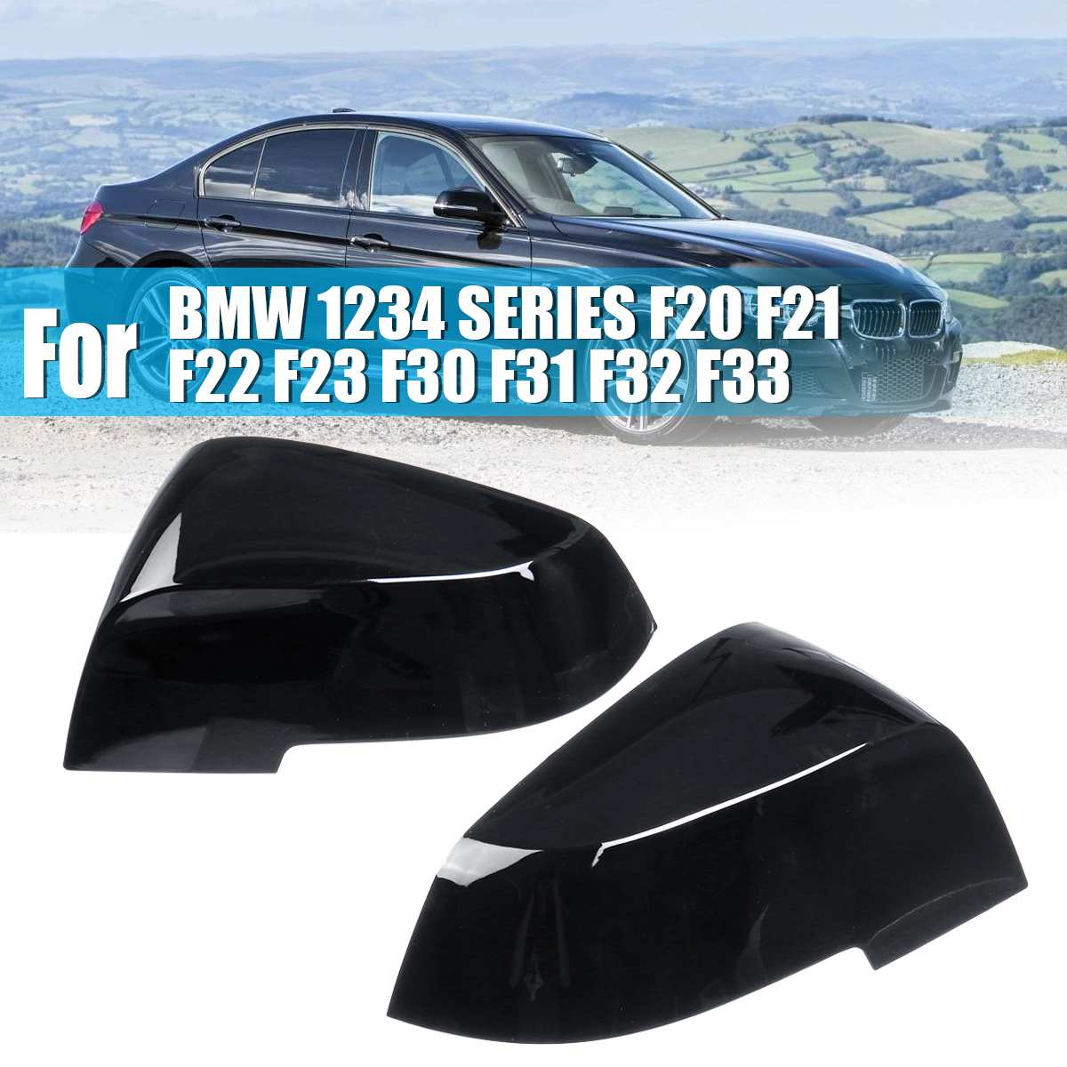 1Pair Gloss Black Door Wing Mirror Covers For BMW 1234 SERIES F20 F21 F22 F23 F30 <font><b>F31</b></font> F32 F33 image