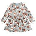 2017 Primavera Outono Do Bebê Meninas Vestidos Das Meninas do Vestido Do Bebê Do Animal Dos Desenhos Animados Da Criança Vestido Para A Menina Veste Roupas Casuais