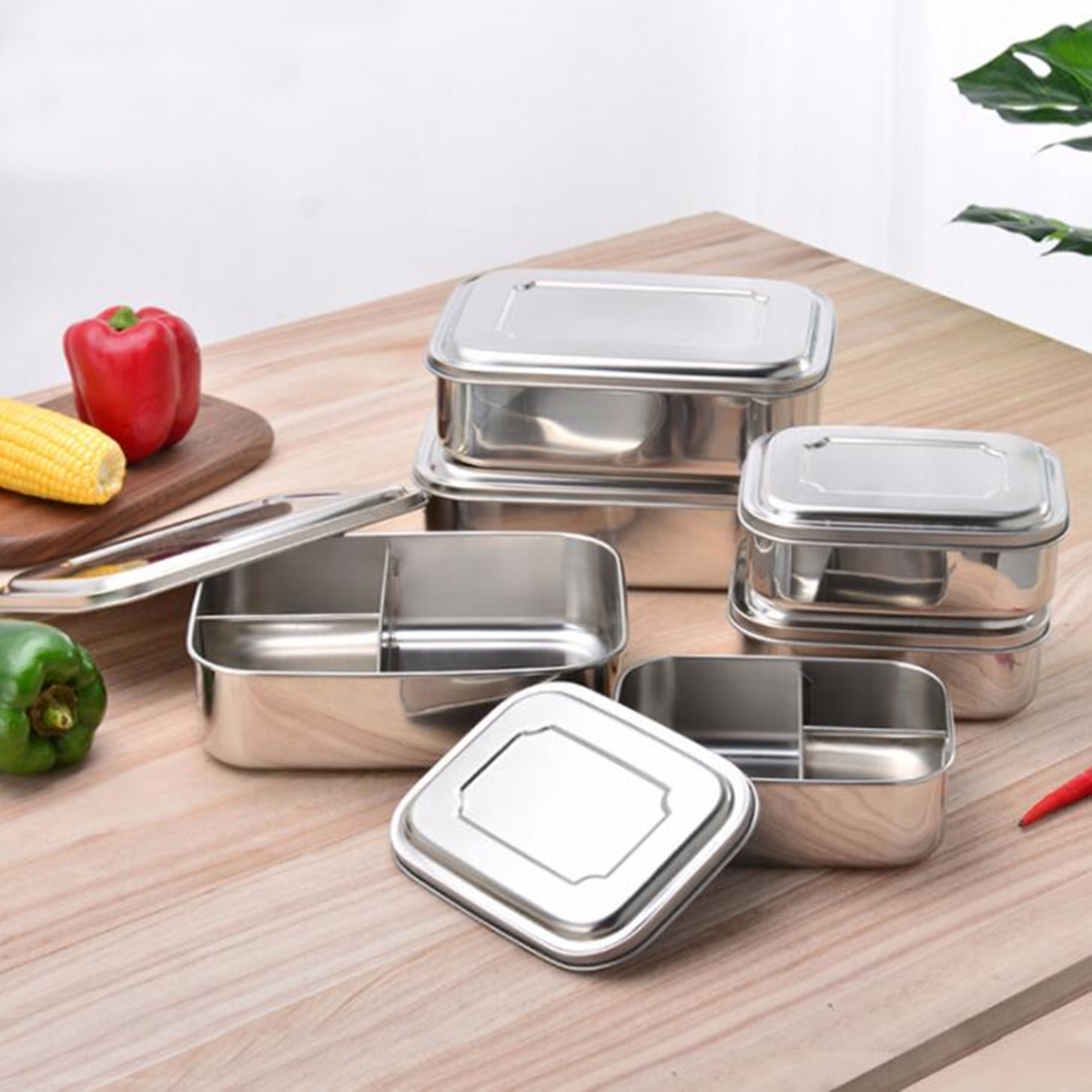 Food Container Stainless Steel Bento Lunch Box With Three Compartments In AU Portable Picnic School Company Food Mess Tin