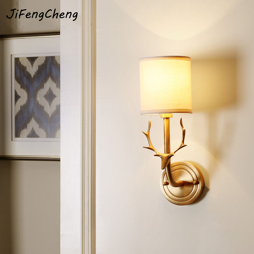 JiFengCheng Modern LED Creative Antlers Full Copper Wall Light E14 Simple Bedroom / Living Room Interior Lighting Luminarias