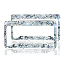 Рамка номерного знака 2 упак.-ручной работы Водонепроницаемый стразы кристалл алмаза лицензии рамки пластины для обоих спереди назад