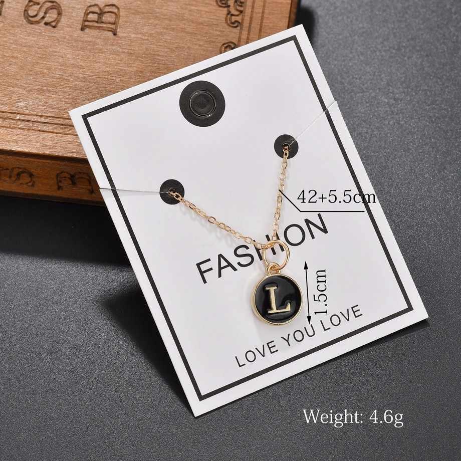Bonito A-Z pingente inicial para mulher kawaii prata 26 letras colar duplo lado strass colares & pingentes para presentes do amante