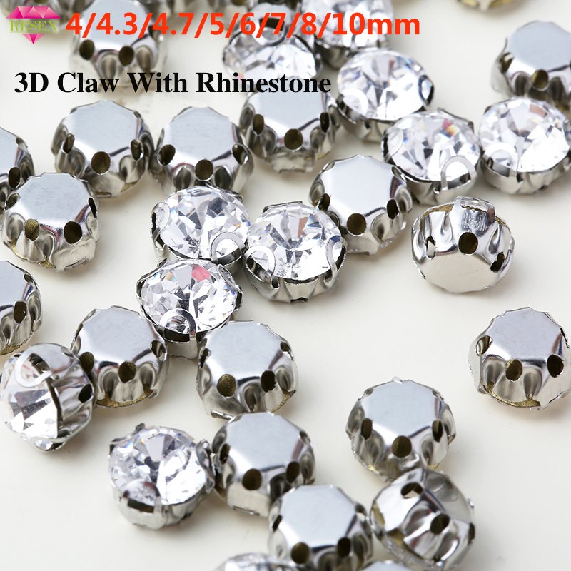 Sell At Loss Avoid Scratching 4 10mm Shining 3D Claw Rhinestone Sew On Rhinestones Crystal Glass Stone DIY Clothes Accessories in Rhinestones from Home Garden