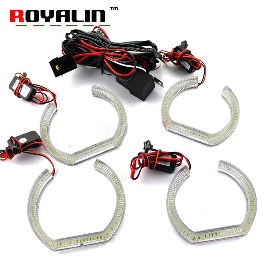 ROYALIN For BMW E90 E92 LED DRL Crystal Angel Eyes Headlights White Yellow Dual Turn Signal Halo Rings 105+120mm Car Lights DIY royalin led drl projector lights shrouds double cob angel eyes lotus halo rings turbine white blue red headlights lens masks