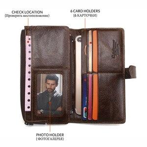 Image 4 - 2020 echtes Leder Brieftaschen Kupplung Männer Patchwork Geldbörse Und Handy Brieftasche Lange Luxus Marke Münze Tasche Karte Halter Retro Stil