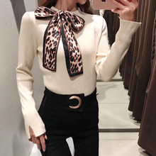 Leopard Bow Sweater jumpers pull femme Women o-neck long sleeve Pullovers 1215-5