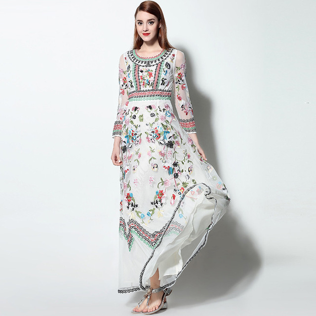 476de4bd3c4 women luxury flower embroidery lace maxi long dress ladies evening party long  dress boho bohemian beach summer long dress 2018