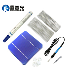 XINPUGUANG 40pcs 19.6% Solar Cell PV Photovoltaic 116W Solar Panel 100W DIY Kit 125*125MM Monocrystall Flux Solder Pen Bus Wire