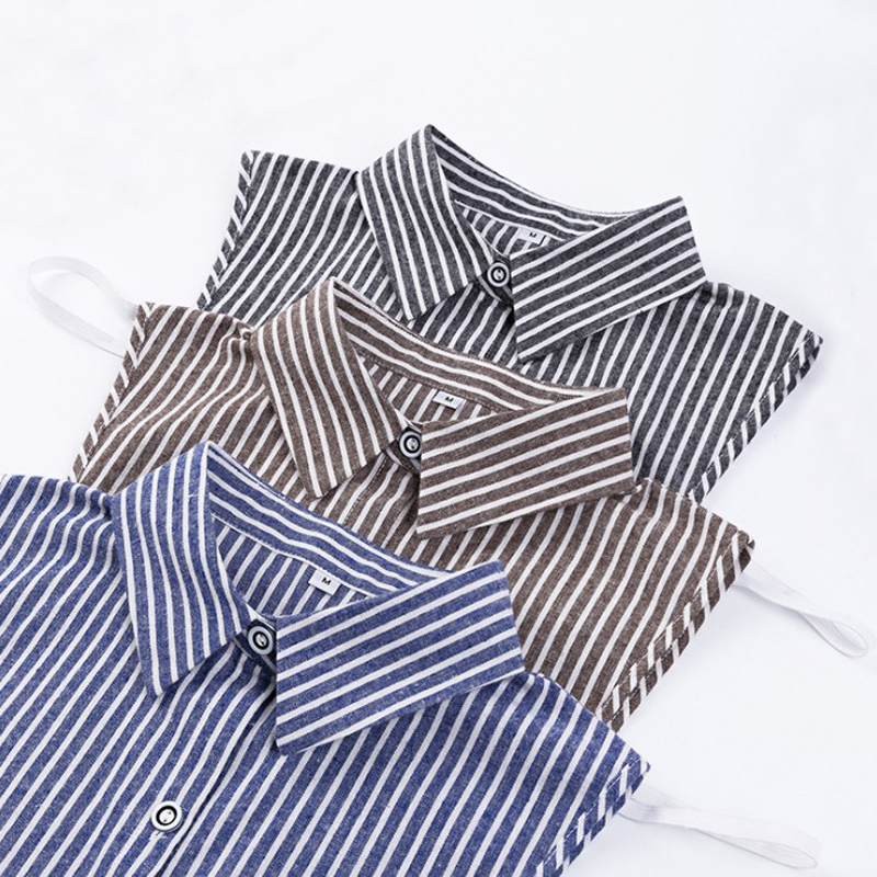 New Arrive Striped Wild Men Women Fashion Fake Collar Sanding Suit Shirt Sweater Remove Detachable Collar Unisex Large Size