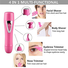 4 in1 USB Electric Professional Eyebrow Trimmer Attached Nose Hair & Shaver Removal Women Care Set