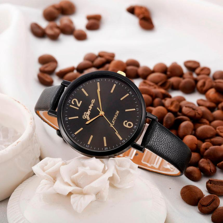 Luxury brand Simple Women watches 2018 New fashion Casual Faux Leather Quartz women Wrist Watch relogio feminino Gift 2018 #C