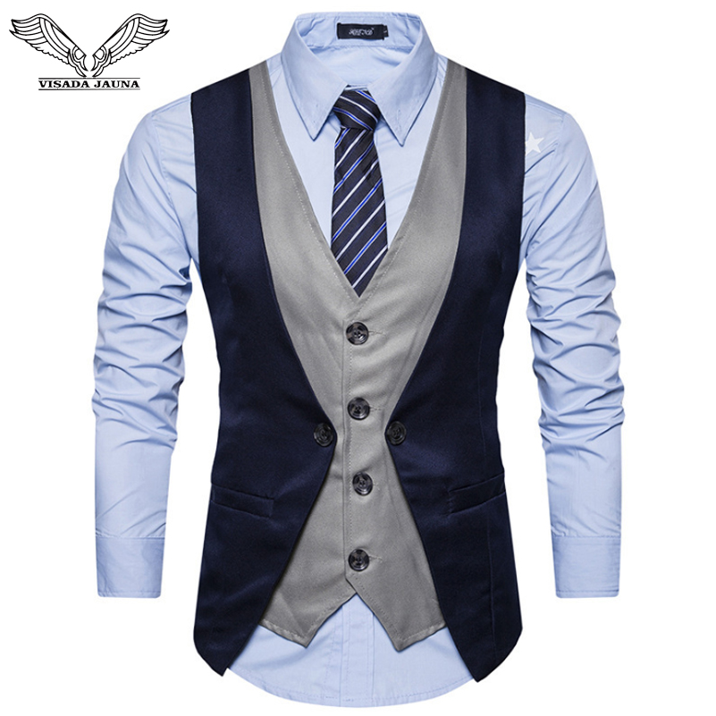 VISADA JAUNA New Men's Business Wedding Vest Fake Two-piece Single-breasted Casual Four-Button Buckle Slim Homme Suit Vest N9020