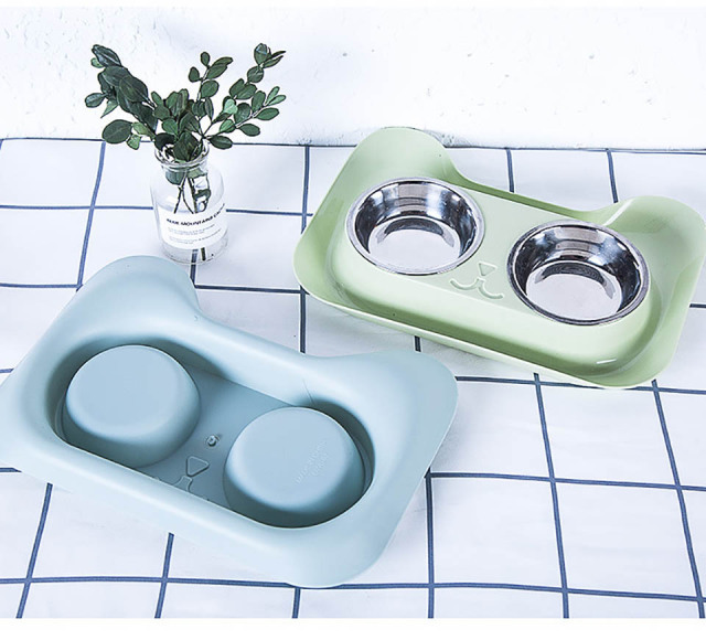 Cat Shaped Double Pet Bowl