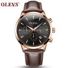 ファッション男性スポーツ腕時計olevsクォーツ男性腕時計カレンダー時間日付時計レザー腕時計高品質クォーツの時計2018