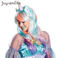 JOY ENLIFE 1Set Cosplay Unicorn Wig Happy Birthday Unicorn Theme Party Decoration Baby Shower Kids Children
