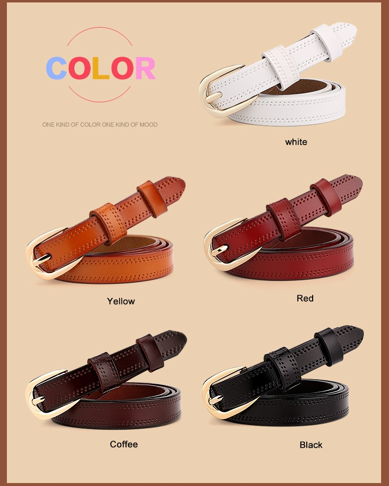CASTELLES Split Leather Belts For Women Thin Strap Fashion Belt Female Genuine Leather Woman Metalic Buckle Girls High Quality (3)