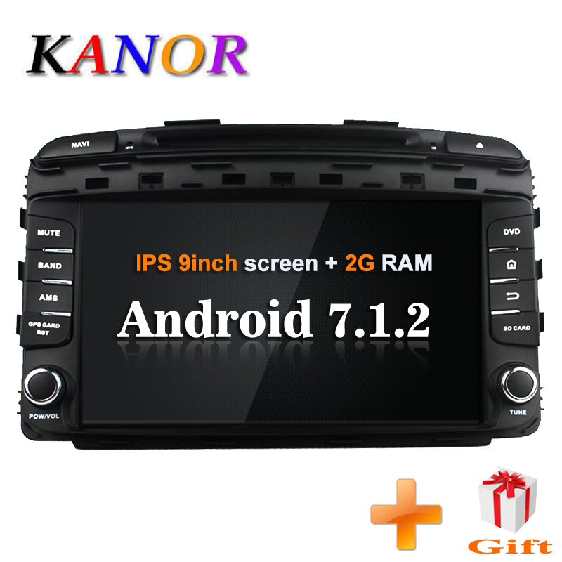 KANOR Android 7.1 car dvd gps for kia Sorento 2015 2016 navigation dvd player car radio audio video player 2 din gps 2+16g free shipping becker dvd rom dvd mechanism loader dv 01 11d for mercede w211 ntg1 comand aps navigation car audio radio systems