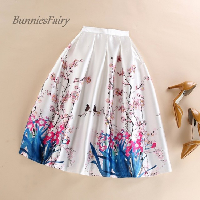 BunniesFairy 2016 Summer New Hepburn Elegant Vintage Style Female Bird Animal Flower Floral Print High Waist A-Line Midi Skirt