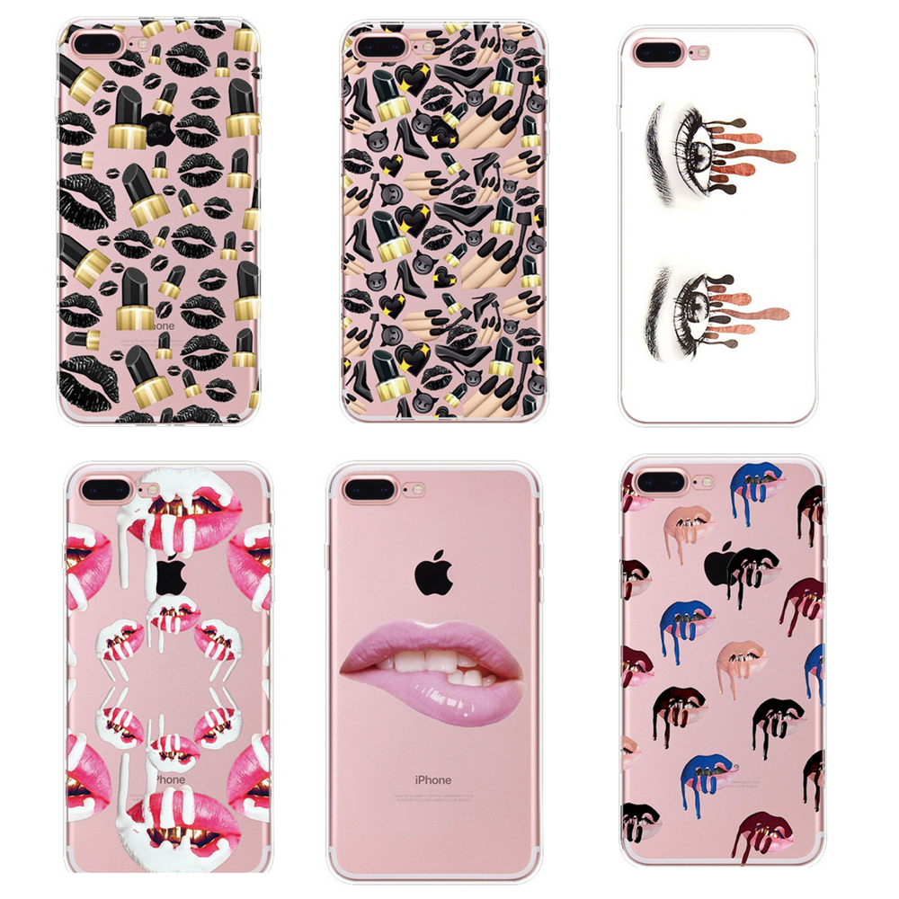 Sexy Girls Soft TPU Case For iphone 5 5s SE 6 6S 7 Plus MakeUp Lipstick Cosmetics Skin Cover Red Lips Eyes Fundas VQ069
