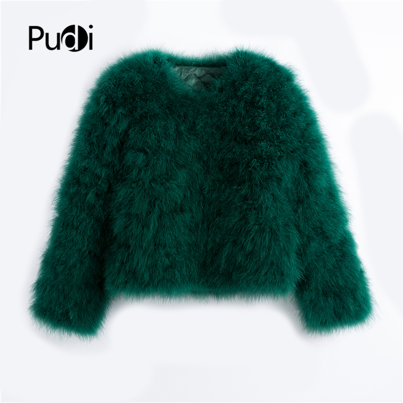 Pudi 2019 New Women Candy Color Ostrich Real  Fur Coat Lady Turkey Hair Free Shipping Casual Short Jacket Parka CT902(China)