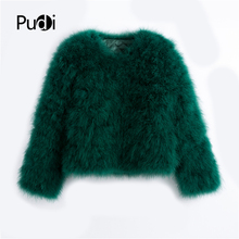 Pudi 2019 new women candy color Ostrich real fur coat lady T