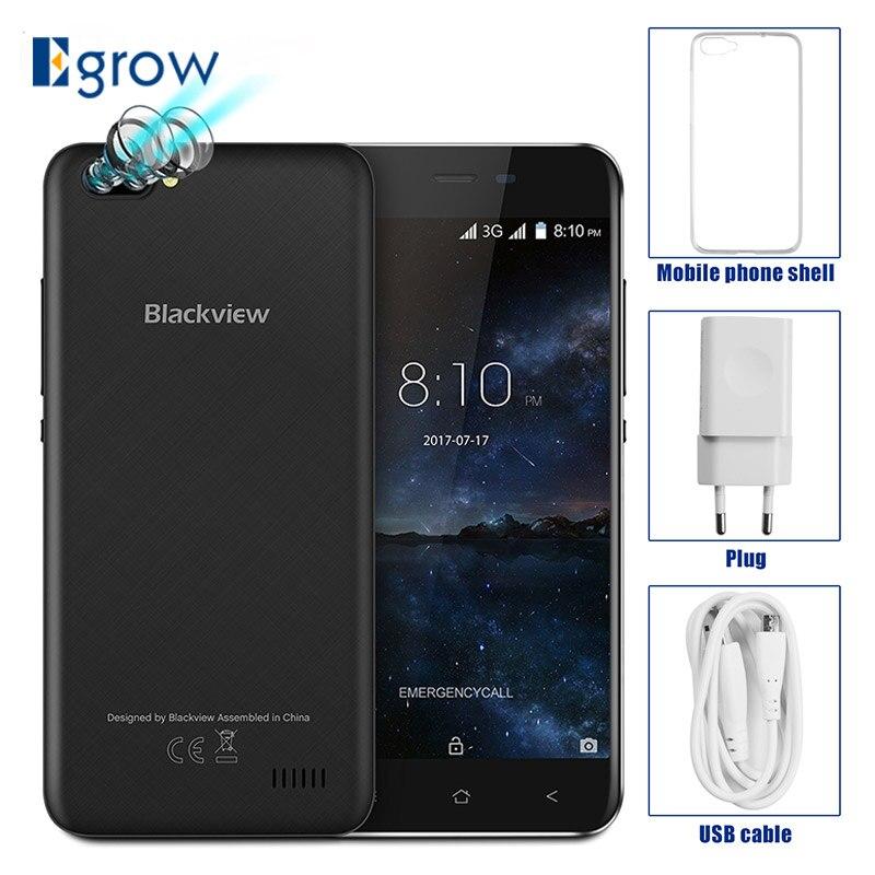 """Оригинал Blackview A7 двойной камеры заднего mt6580a 4 ядра android 7.0 мобильный телефон 5.0 """"сотовых телефонов 1 г Оперативная память 8 г Встроенная память смартфона"""