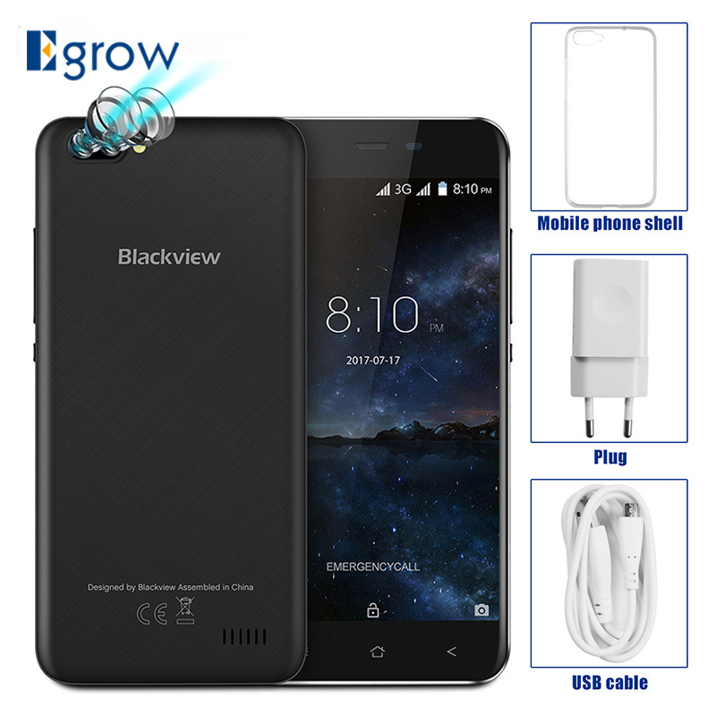 Original Blackview A7 Dual Rear Cameras MT6580A Quad Core Android 7.0 Mobile Phone 5.0 Cell Phones 1G RAM 8G ROM Smartphone