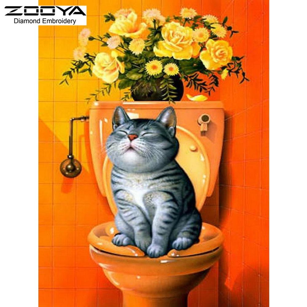 새로운 DIY 다이아몬드 자수 고양이 다이아몬드 그림 고양이 홈 장식 BJ166와 화장실 다이아몬드 모자이크 자수에 앉아