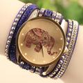 Elefante strass pulseira envoltório de quartzo das senhoras Relógios de luxo relógios de pulso das mulheres vestido relógios relogio feminino montre femme
