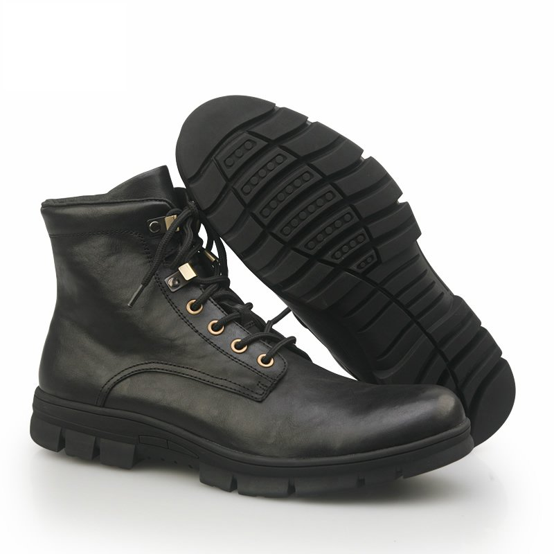 Winter new style black fashion men boot shoes,leather ...