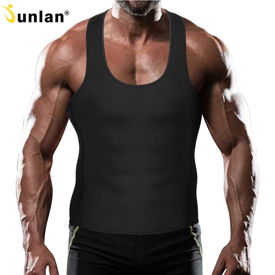 Junlan Burning Men Slimming Vest Neoprene Sauna Suit Mens Waist Trainer Body Control Shaperwear Thin Bodysuit for Weight Loss
