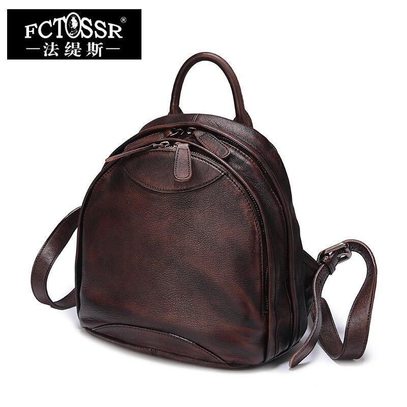 все цены на Travel Backpack Vintage Natural Leather Women's Backpack Bags Handmade Leather Knapsack Female Double Zipper Backpacks
