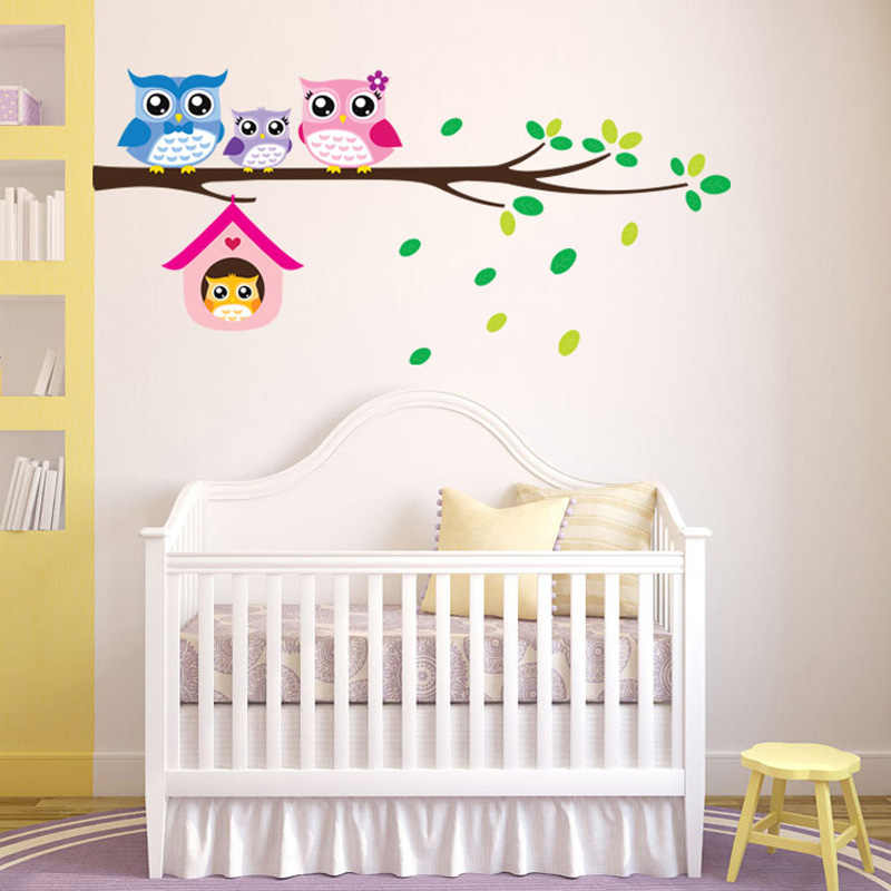 Cartoon Owl family on tree Wall Stickers for kids rooms home decoration nursery Mural Art Decals animals  sticker wallpaper