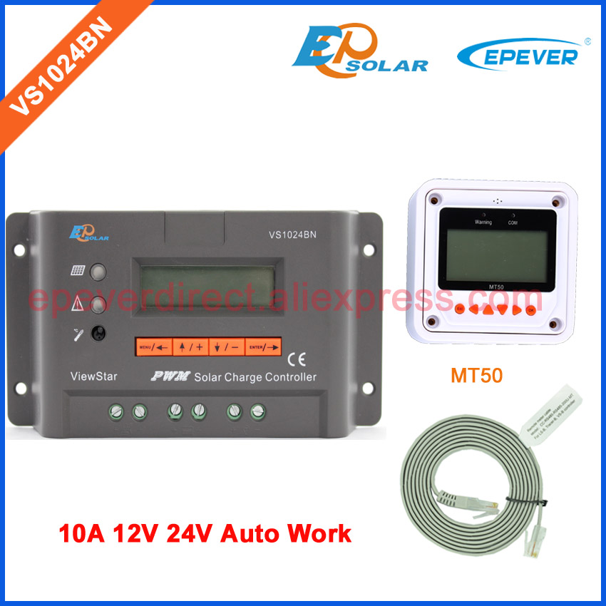 12V 10A controller EPSolar PWM 10AMPS VS1024BN 24V 12V Auto Work solar controller with MT50 remote meter lcd display vs1024bn new pwm controller network access computer control can connect with mt50 for communication