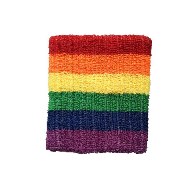 Women Men Sports Wristbands Towel Sweatband Rainbow Colorful Stripes Breathable Bracers Running Badminton Wrist Support Wrap