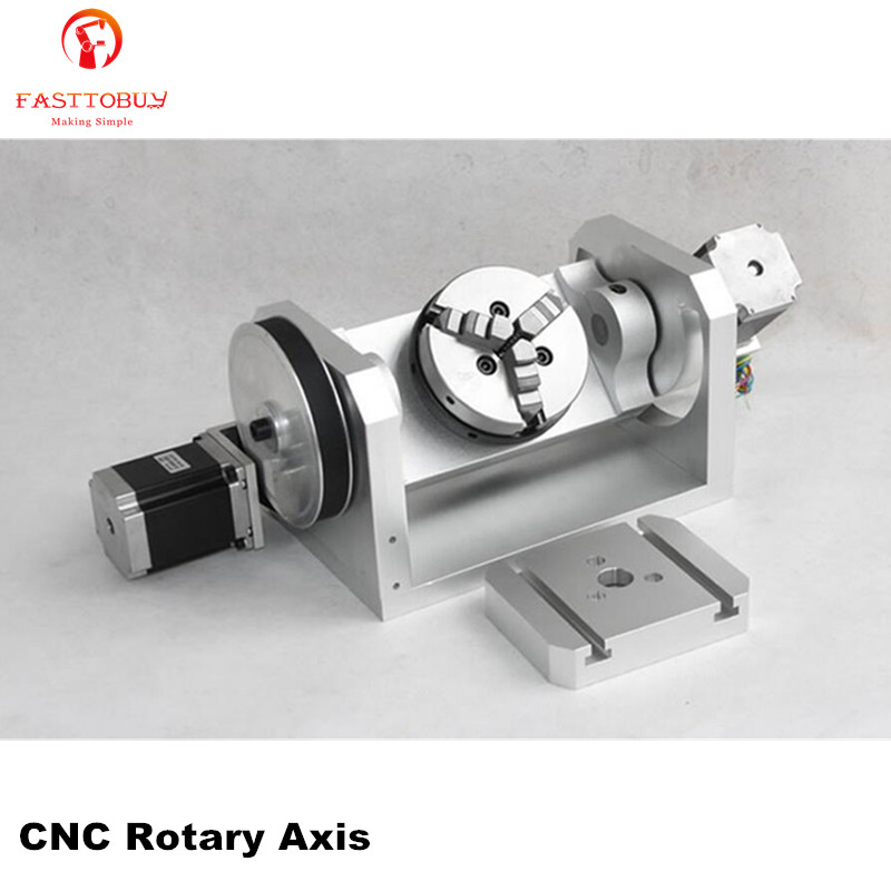 K01 3 Jaw Chuck CNC Rotary Axis CNC Dividing Head 5th A axis Ratio 6:1 with 2pcs Nema23 3A Stepper Motors for CNC Router New 5th axis a axis cnc rotary axis 6 1 8 1 stepper motor dividing head 100mm 3 jaw lathe chuck for cnc engraving machine