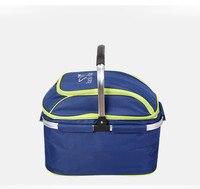 Outdoor Picnic Basket Picnic Bag Ice Pack Insulation Bag Cooler Box Food Basket Handheld Basket