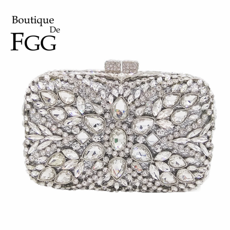 Socialite Hollow Out Mini Minaudiere Women Silver Crystal Evening Bags Bridal Wedding Diamond Hand Bag Party Dinner Metal Purse