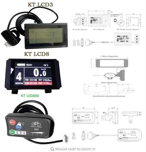 KT-LCD3 E-bike LCD Display Intelligent Control Panel 24V 36V 48V 72V