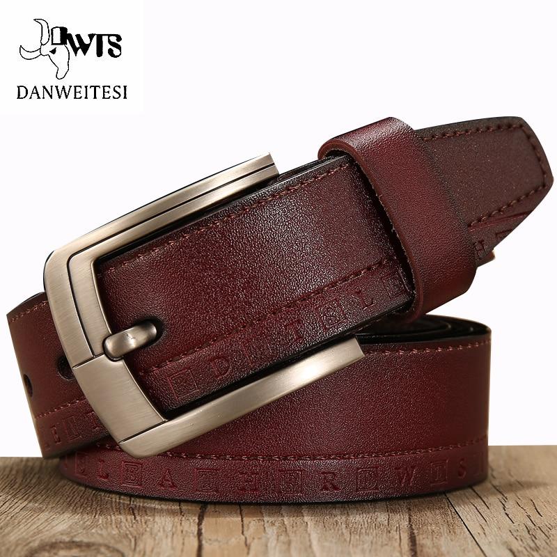[DWTS]Men's belt 100% leather belt men male genuine leather strap luxury pin buckle casual men's belt Cummerbunds ceinture homme
