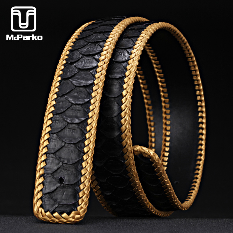 McParko Luxury Belt Men Genuine Leather PYTHON Belts without Buckle Fashion Weaving Braide Snakeskin Mens Waist