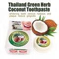 Tailândia coco creme dental teeth whitening remover halitose e placa de erva verde reduzir a gengivite dentifrício produtos odontológicos