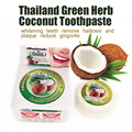 Thailand green herb coconut toothpaste whitening teeth remove halitosis and plaque reduce gingivitis dentifrice dental products