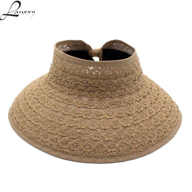 Lanxxy 2018 New Trendy Lace Panama Sun Hats without tops Foldable Summer  Outdoor Beach Hat Women Wide Brim Caps 3bae1d49e55