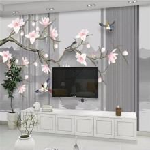 3D magnolia flower hand-painted flowers and birds background wallpaper murals home decoration custom photo wallpaper