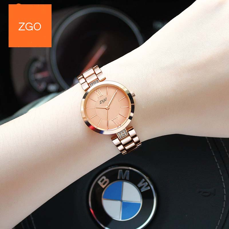 Zgo New Fashion Womens Watch Girls CasualStainless steel Band Quartz Wrist Watches Female Clocks Montre Femme Relogio Femi