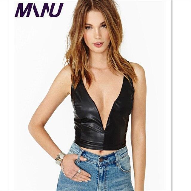 Wbctw 2018 Sexy Pu Tank Top Fashion Women S Deep V Neck Black Pu