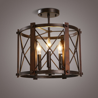 retro industrial restaurant bedroom ceiling lamp loft iron art aisle candle glass box living room coffee shop light ZA83014